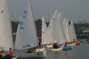 The IC Dinghies after one of the starts at the 73rd Annual Frostbite YC New Year's Regatta