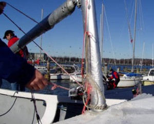 Temperature hovering around freezing caused Lots of ice buildup on the boats! (Jan Walker photo).